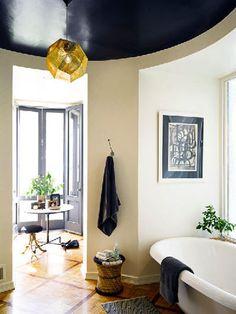 black ceiling, light walls