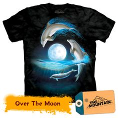Dolphin T-Shirt by The Mountain. Three dolphins jump over the bright moon, splashing in and out of the water. The Mountain T Shirts are cotton Tees printed with environmentally friendly water based inks. Images can be ironed over without any problems. Kids Wardrobe, 3d T Shirts, Plus Size T Shirts, Over The Moon, Moon Child, Cool Tees, Dolphins, The Incredibles, Cloths