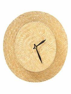 Turn a fedora into a wall clock! DIY wall clock - Straw Hat for men Wall Clock Nursery, Wall Clocks, Wall Art, Diy Straw, Straw Hats, Tick Tock Clock, Do It Yourself Decorating, Nursery Modern, Diy For Men