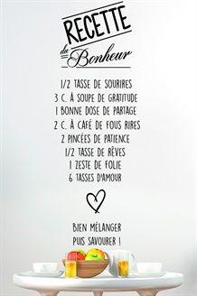 Sticker Recette du bonheur<BR>Noir