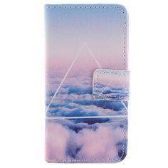 Quer Texture-Mappen-Art-Schlag-Stand TPU   PU-Leder Tasche für iPhone 5C (Triangle & Clouds)