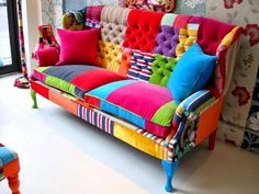 DIY Patchwork Sofa colors aren't all for me, but love the idea! Funky Furniture, Colorful Furniture, Furniture Makeover, Painted Furniture, Bedroom Furniture, Furniture Design, Colorful Couch, Bedroom Sofa, Furniture Outlet