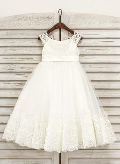 [US$ 72.69] A-Line/Princess Tea-length Flower Girl Dress - Tulle Sleeveless Scoop Neck With Lace