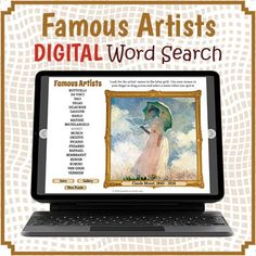 FREE DIGITAL Famous Artists Word Search Puzzle and Review. This is an amazing educational resource and unlike any you have ever seen! Number Puzzles, Puzzles For Kids, Fun Classroom Activities, Listening Activities, Digital Word, Printable Puzzles, Interactive Whiteboard, Educational Games For Kids, Vocabulary Games