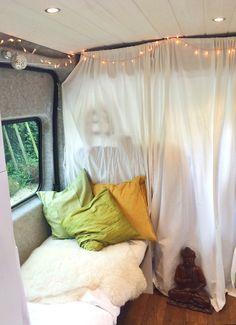 Day bed / sofa. Inside Nikki Loy's self build camper van. More info and details at nikkiloy.com