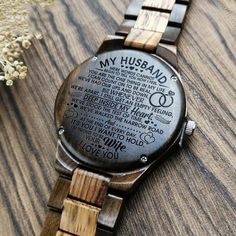 Perfect Gifts For Husband Engraved Wooden Watch Great Gifts For Boyfriend, Gifts For Fiance, Great Gifts For Men, Love Gifts, Gifts For Him, Diy Gifts, Leather Notebook, Wooden Watch, Beautiful Watches