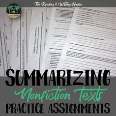 Summarizing nonfiction texts can be somewhat daunting for both students and teachers alike. It's pretty simple to teach students how to write a fictional summary. Just break it down by the plot. When it comes to nonfiction, non-narrative texts, it's not so black and white.The materials in this product (which are also included in my Summarizing Nonfiction Text Bundle available through my store) will help you to break down the process of summarizing nonfiction in a sensible manner.