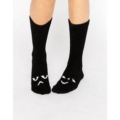 Monki Eye Motif Socks ($8.94) ❤ liked on Polyvore featuring intimates, hosiery, socks, black, monki, monki socks, ankle high socks and ankle high hosiery