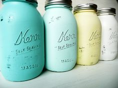 Painted Mason Jars- Beautiful for flower arrangements --- SPRING and SUMMER WEDDING and Home Decor.