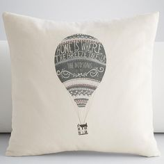 Make winter a little brighter with personalized hot air balloon throw pillow cover from RedEnvelope.com