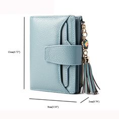 Hot-sale Multi-Slots Tassel Genuine Leather Short Wallet Credit Card Holder  Purse For 2c5a088fa701