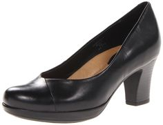 Earth Women's Tamarack Pump,Black,6 M US. Round-toe pump with stacked heel featuring crossover stitching and multi-density cushioning at insole.