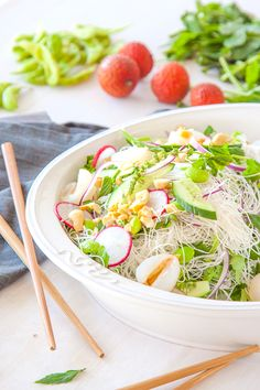Edamame vermicelli and lychee salad recipe - a delicious light vegan salad that is ready in 15 minutes |