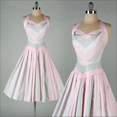 vintage 1950s dress . pink grey . striped by millstreetvintage
