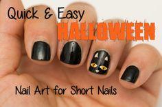 Quick and Easy Halloween Nail Art For Short Nails  #nails #nailart #shortnails #nubs #makeup #beauty #halloween #halloweennailart