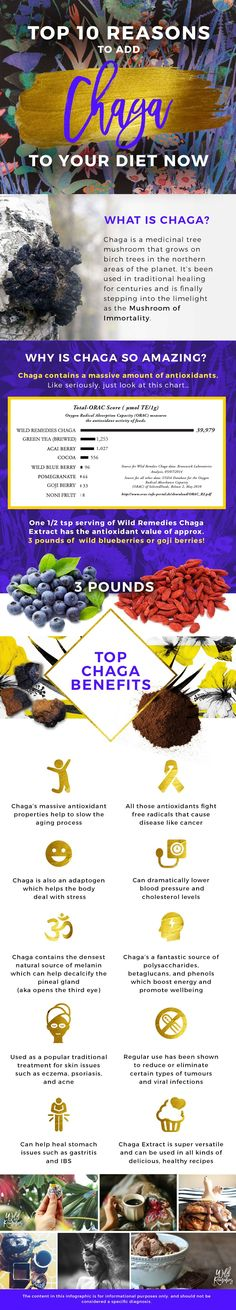Move over matcha, and acai... there's a major new superfood on the block!  Boasting the highest antioxidant score on earth, the chaga mushroom is quickly becoming the hottest new nutritional celebrity. Just simply add 1/2 a tsp of extract to hot water to instantly make a delicious tea or latte, or easily add it to smoothies and other foods for a major nutritional boost.   Tastes like cinnamon, not mushrooms ;)  vegan | wildcrafted | organic
