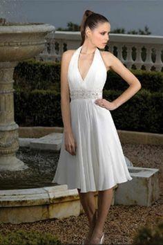 casual halter style a-line knee length beach wedding dress