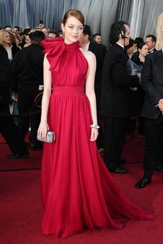 Emma Stone - 84th Annual Academy Awards in LA February 2012 in Giambattista Valli Couture Spring 2012 Gown, Louis Vuitton Clutch