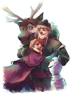 Kristoff, Sven and Anna Olaf.  :)