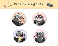 Black Pug Christmas Pins / Magnets / Stocking Stuffers! Also in fawn, brindle & French Bulldog: http://etsy.me/2aX9dDt