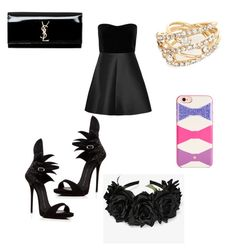 """Black day"" by acro-diva ❤ liked on Polyvore featuring beauty, RED Valentino, Giuseppe Zanotti, River Island, Yves Saint Laurent and Kate Spade"