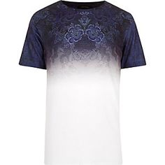 Blue faded tapestry print t-shirt