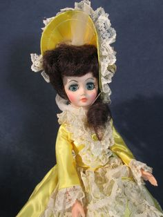 Vintage Fashion Doll Southern Belle Boudoir Boutique Doll Corp Yellow Dress Lace #BoutiqueDollCorp #DollswithClothingAccessories