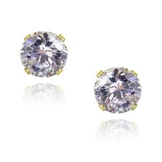 18K Gold over Sterling Silver 2.5ct Lavender CZ Stud Earrings, 7mm SilverSpeck.com. $6.25. Save 79%!
