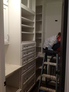 My pantry is packed with great storage.  I worked with the designer to make the most of every inch of space.  The drawers are lined with tarnish resistant fabric so I don't have to polish my silver everything I use it!  You can buy that fabric by the yard and do the same for your drawers or closets.
