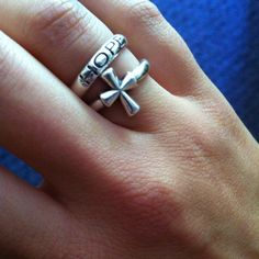 """James Avery cross ring paired with """"hope"""""""