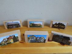 """Families take pictures of their homes. These are attached to building blocks so that the children can use them in their play - from Syrenen Töreboda Blogg ("""",)"""