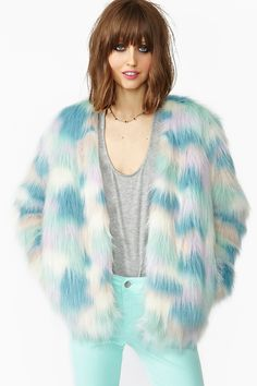 The coolest faux fur coat EVER featuring a pastel patchwork design. Hook/eye…