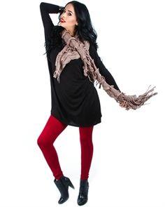 Red High-Waisted Leggings (plus size) at My Fashion Wear! www.myfashionwear.com