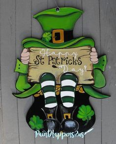 St Patrick's Day leprechaun Door Hanger Sign by patricks day diy signs This item is unavailable San Patrick Day, Sant Patrick, St Patricks Day Cards, Happy St Patricks Day, St Patrick's Day Decorations, Wooden Door Hangers, Wood Cutouts, St Pattys, Painted Signs