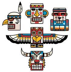 Totem by Meriç Karabulut, via Behance Native American Totem, Native American Symbols, Native American History, Totem Pole Craft, Tiki Totem, American Indian Art, American Indians, American Women, Native Indian
