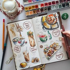 travel idea journal Tummy diaries for the week Watercolor Food, Watercolor Journal, Watercolor Illustration, Watercolour, Kunstjournal Inspiration, Sketchbook Inspiration, Bullet Journal Inspiration, Journal Croquis, Sketch Journal