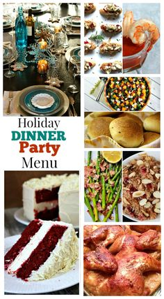Holiday Dinner Party Menu: (think Christmas or New Years) designed by entertaining expert @sandycoughlin : complete menu with links to recipes and table setting/decor ideas in a snowflake theme.