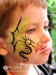 Face painting motifs for your kids party! The post Face painting motifs for your kids party! appeared first on Woman Casual - Tattoos And Body Art Dragon Face Painting, Face Painting For Boys, Face Painting Designs, Paint Designs, Body Painting, Simple Face Painting, Painting Art, Boy Face, Child Face