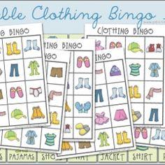Peonies and Poppyseeds: Clothing Bingo Printable Game English Activities, Vocabulary Activities, Creative Curriculum, Creative Teaching, Preschool Games, Activities For Kids, Preschool Ideas, Bingo For Kids, Clothing Themes