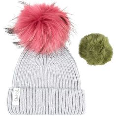 Interchangeable Fur Bobble Hat ($140) ❤ liked on Polyvore featuring accessories, hats, pom pom hat, bobble beanie, bobble beanie hat, fur hat and bobble hat
