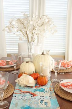 House of Turquoise: Happy Thanksgiving! Thanksgiving Tablescapes, Thanksgiving Decorations, Happy Thanksgiving, Seasonal Decor, Holiday Decor, Thanksgiving Wedding, House Of Turquoise, Coastal Fall, Coastal Decor