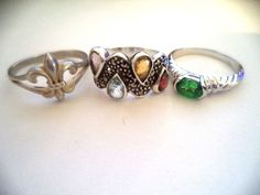 Lot of 3 rings sterling silver sz.9 multi colored stones  *pretty vintage rings* #Cocktail