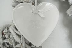 Me & You Porcelain Hanging Heart - Divine Shabby Chic