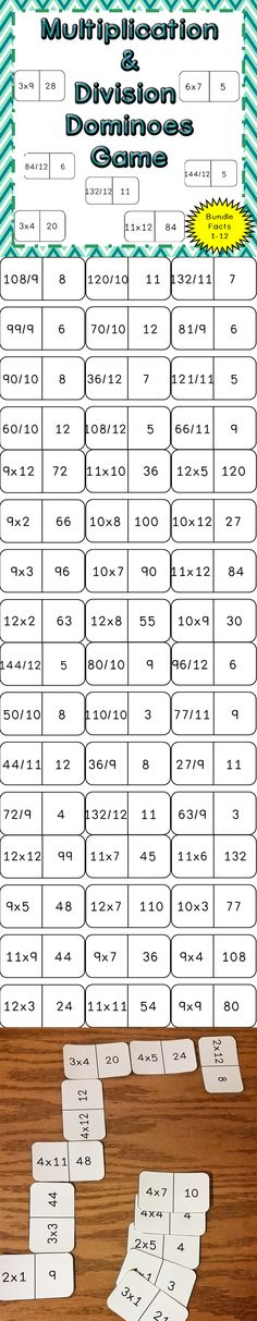 Finally able to update this product!. Help students learn their multiplication and division facts with this dominoes bundle! They are easy to use as fast finishers, centers, and more. The bundle covers facts from 1 to 12 and has 6 different domino sets for play.