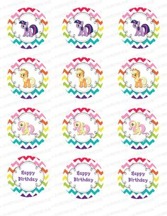INSTANT DOWNLOAD- My Little Pony Rainbow Cupcake Toppers (My Little Pony Party Pack)