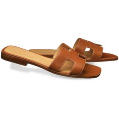 Hermès Oran Sandal ($680) ❤ liked on Polyvore featuring shoes, sandals, genuine leather shoes, beige sandals, leather sandals, real leather shoes and leather footwear