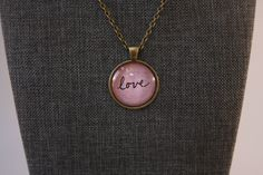 """Love Inspirational Word Vintage Glass Pendant Necklace Antique Bronze 1"""" Cabochon 24"""" Chain Purple Background by Mckenziepartyof5 on Etsy"""