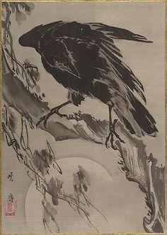 河鍋 暁斎 (Kawanabe Kyōsai, 1831–1889), Crow and the Moon