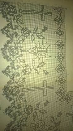 Crochet Altar Cloth Cross And Crochet Lace Edging, Crochet Cross, Crochet Doilies, Bobbin Lace Patterns, Cross Stitch Patterns, Crochet Patterns, Filet Crochet Charts, Altar Cloth, Fillet Crochet