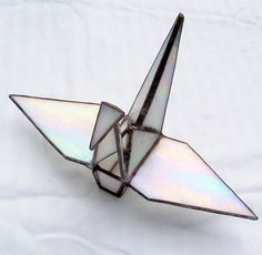 Stained Glass Origami, Sadakos Peace Crane, Tsuru, Symbol of Peace, Prosperity, Fidelity, Longevity. Hanging Ornament, 3-D Suncatcher